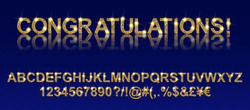 Congratulations. Gold alphabetic fonts Royalty Free Stock Image