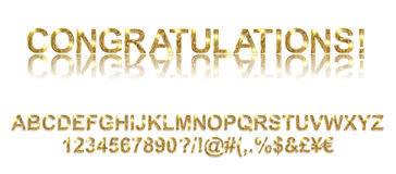 Congratulations. Gold alphabetic fonts Stock Image
