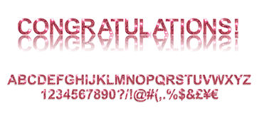 Congratulations. Gold red alphabetic fonts. And numbers on a white background. Vector illustration Stock Photos