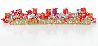 Congratulations golden text and red and silver gifts Stock Images