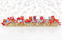 Congratulations golden text and red and silver gifts Stock Image