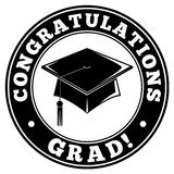 Congratulations Grad. An illustration of a black and white stamp with the text Congratulations Grad celebrating graduation Royalty Free Stock Image
