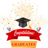 Congratulations with graduate cap and confetti Stock Image