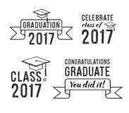 Congratulations graduate 2017, Graduation Set. Congratulations graduate 2017, Graduation hand drawn Set Royalty Free Stock Photography