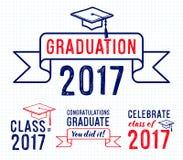 Congratulations graduate 2017, Graduation Vector Set Royalty Free Stock Photo