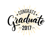 Congratulations graduate 2017. Vector elements for graduation design, congratulation event, party, high school or college graduate Stock Illustration