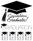 Congratulations Graduates Cap/eps. Illustration of a graduation cap with tassle and the headlines Congratulations Graduates, Graduation and graphics for the Stock Image