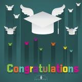 Congratulations graduation cap flying Royalty Free Stock Photos