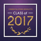 Congratulations on graduation 2017 class of. Party, Celebrate, H. Igh School / College Vector illustration on blue background Royalty Free Stock Photography