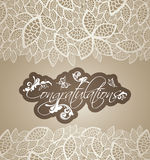 Congratulations greeting card floral swirls with lace leaves bor Stock Photos