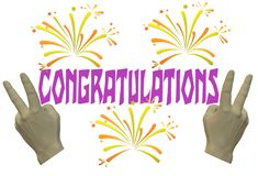 A congratulations greeting electronic card. A computer generated illustration image of a congratulations greeting electronic card against a white backdrop stock illustration