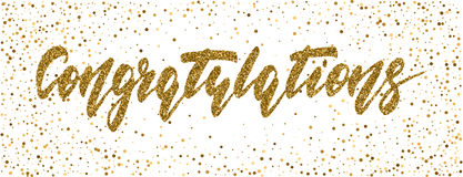 Congratulations - hand drawn lettering, modern brush pen calligraphy. With the gold glitter texture on a confetti background royalty free illustration