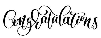 Congratulations Hand lettering Calligraphic greeting inscription. Vector handwritten typography