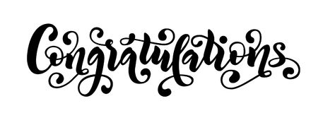 Congratulations hand lettering quote. Hand drawn modern brush calligraphy congrats word. Vector text illustration. Black and white Calligraphic banner. Design royalty free illustration