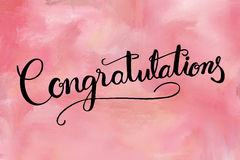 Congratulations hand lettering text Royalty Free Stock Photography