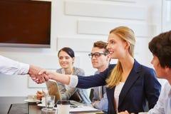 Congratulations handshake between business people royalty free stock image