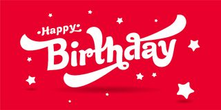 Congratulations on happy birthday vector image. Congratulations on happy birthday. Red and white vector image of the logo Royalty Free Stock Image