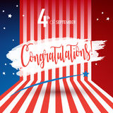 Congratulations! Happy Labor day. Congratulations! poster of Happy Labor Day holiday banner with American national flag red, blue, white colors, fireworks, stars Royalty Free Stock Photo