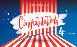 Congratulations! Happy Labor day. Congratulations! poster of Happy Labor Day holiday banner with American national flag red, blue, white colors, fireworks, stars Royalty Free Stock Photos