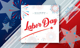 Congratulations! Happy Labor day. Congratulations! poster of Happy Labor Day holiday banner with American national flag red, blue, white colors, fireworks, stars Stock Photography