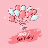 Congratulations on the holiday. balloons pink, blue on a pink background. Backdrop with Balloons. Hand drawing. Inscription Happy birthday. wallpaper banner royalty free illustration