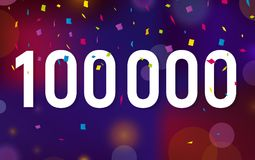 Congratulations 100K followers, one hundred thousand followers. Thanks banner background with confetti. Vector illustration Stock Image