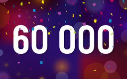 Congratulations 60K followers, sixty thousand followers. Thanks banner background with confetti. Vector illustration.  Royalty Free Stock Image