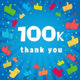 Thank you 100000 followers card. Congratulations 100K followers thanks banner background with colored confetti and like icons. Vector illustration stock illustration