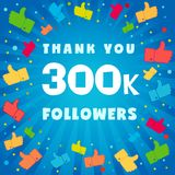 Thank you 300000 followers card royalty free illustration