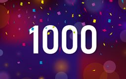 Congratulations 1K followers thanks banner background with confetti. Vector illustration.  Stock Illustration