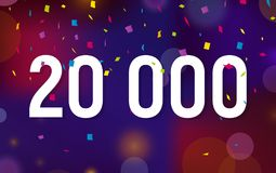 Congratulations 20K followers, twenty thousand followers. Thanks banner background with confetti. Vector illustration Royalty Free Stock Photos