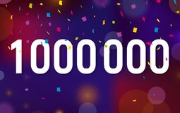 Congratulations 1KK followers, one million followers. Thanks banner background with confetti. Vector illustration.  Royalty Free Stock Photos