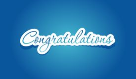 Congratulations lettering. On blue background. Vector illustration Royalty Free Stock Photos