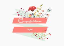Congratulations lettering decorative with flower Royalty Free Stock Photos