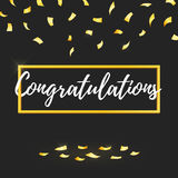 Congratulations lettering, golden confetti Royalty Free Stock Image