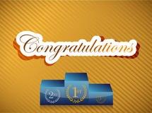 Congratulations lettering and podium illustration Stock Photo