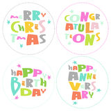 Congratulations lettering on white background. Vec. Congratulations, merry Christmas, Happy birthday and aniversary colorful lettering on white background Stock Image