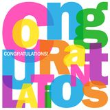 CONGRATULATIONS! letters collage. Collage of letters spelling CONGRATULATIONS!.  Rainbow palette.  Vector. Square format Stock Photography