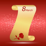 Congratulations on March 8, the scroll of gold color with a red rose on red background. Royalty Free Stock Photos