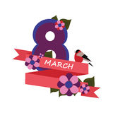 Congratulations on March 8. In the style of minimalism Royalty Free Illustration