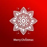 Congratulations on a Merry Christmas. Volumetric white snowflake. Christmas snowflake. Royalty Free Stock Photography