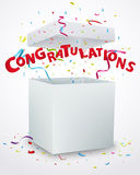 Congratulations message box with confetti Royalty Free Stock Image