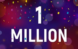 Congratulations 1 million followers thanks banner background with confetti. Vector illustration.  Royalty Free Stock Images
