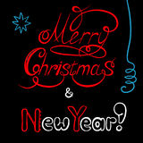 Congratulations with New year and Christmas. Postcard with calligraphic inscription Stock Photos
