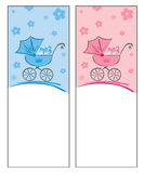 Congratulations on newborn. Greeting card with a newborn - for girls and boys vector illustration