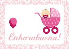 Congratulations, newborn baby girl, postcard, Spanish, vector. In a pink stroller sits a baby. The inscription in Spanish ` Congratulations!`Color, flat picture Royalty Free Stock Photo