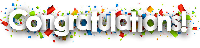 Congratulations Paper Banner. Royalty Free Stock Photo