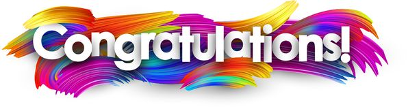 Congratulations paper banner with colorful brush strokes. stock illustration