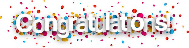 Congratulations paper banner with confetti. Congratulations paper banner with glossy colorful confetti. Vector illustration Royalty Free Stock Photography