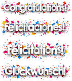 Congratulations paper banners. Stock Photo